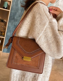 Fashion Brown Scrub Lock Buckle Backpack