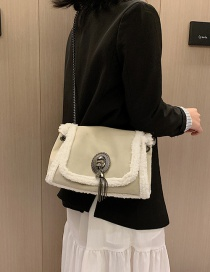 Fashion Beige Splicing Plush Crossbody Shoulder Bag