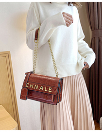 Fashion Brown Letter Chain Crossbody Shoulder Bag