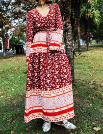 Fashion Red Red Print Long Dress