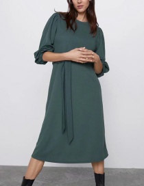 Fashion Dark Green Belt Dress