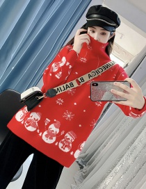 Fashion Red Christmas Style Turtleneck Sweater