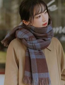 Fashion Purple Plaid Cashmere Double-faced Scarf Shawl