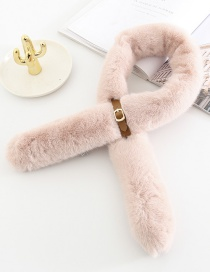 Fashion Pink Small Leather Buckle Imitation Rabbit Fur Collar