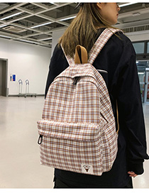 Fashion Brown Checked Label Backpack