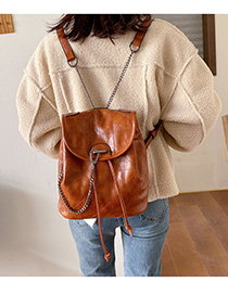Fashion Brown Chain Rhombus Drawstring Backpack