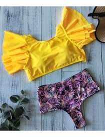 Fashion Yellow Top + Foundation Maple Leaf Print (including Chest Pad) Split Print Swimsuit Bow Ruffled High Rise Backless Bikini
