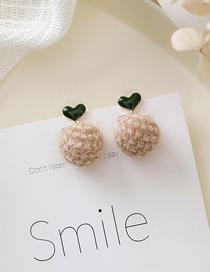 Fashion Brown 925 Silver Needle Love Plush Ball Stud Earrings