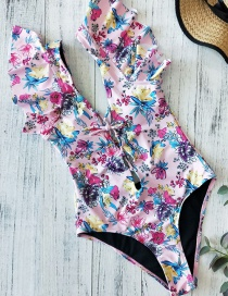 Fashion Foundation Powder Triangle Printed Ruffled One-piece Swimsuit