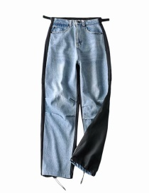 Fashion Blue Washed Paneled Pleated High-rise Jeans