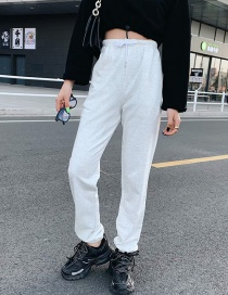 Fashion White Gray Elasticated Waist Trousers