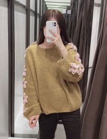 Fashion Ginger Flower Stitching Round Neck Mohair Knitted Sweater