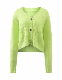 Fashion Green Solid Color V-neck Single Breasted Knit Sweater