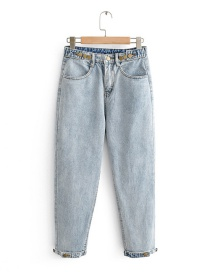 Fashion Light Blue High-rise Washed Denim Pants