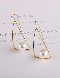 Fashion Golden Curved Pearl Alloy Triangle Earrings