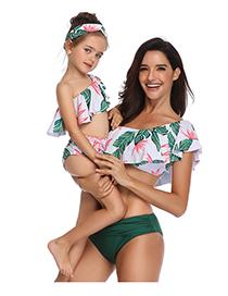 Fashion Green Foliage Print Flash Bikini Children