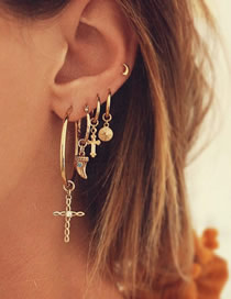 Fashion Golden Jesus Bible Ear Clips Set Of 5