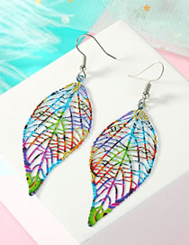 Fashion Leaf Color Geometric Openwork Carved Leaf Earrings