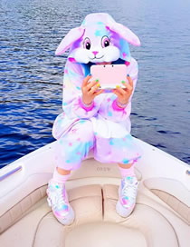 Fashion Star Bunny Bunny Star Flannel One Piece Pajamas