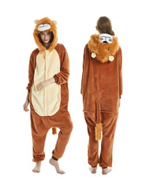 Fashion Lion Lion-paneled Flannel One-piece Pajamas