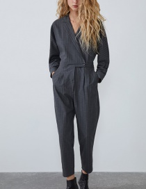 Fashion Black Pinstriped Jumpsuit