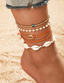 Fashion Golden Woven Wax Thread Rice Pearl Eyes Conch Shell Anklet 5-piece Set