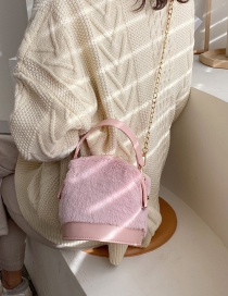 Fashion Pink Plush Chain Shoulder Bag Crossbody Bag
