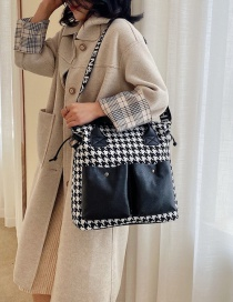 Fashion Black Wide Shoulder Plaid Contrast Panel