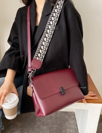 Fashion Red Wine Wide Shoulder Strap Crossbody Bag
