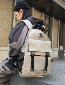 Fashion Champagne Labeled Mesh Stitching Backpack