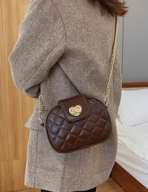 Fashion Brown Chain Rhombus Lock Diagonal Shoulder Bag