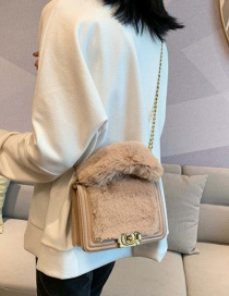 Fashion Khaki Plush Chain Cross-body Shoulder Bag