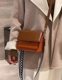 Fashion Brown With Khaki Wide Shoulder Strap Contrast Shoulder Bag