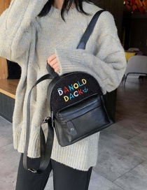 Fashion Black Letter Embroidered Plush Stitched Children's Backpack