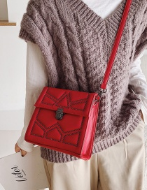 Fashion Red Studded Shoulder Bag