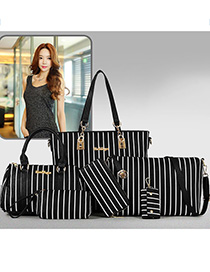 Fashion Black Contrast One Shoulder Messenger Bag