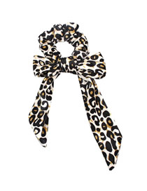 Fashion Black And Yellow Leopard Print Velvet Bow Hair Ring