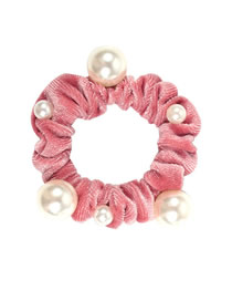 Fashion Pink Velvet Pearl Hair Ring