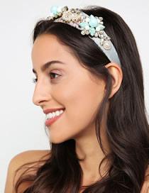 Fashion Blue Cloth Alloy Diamond Headband