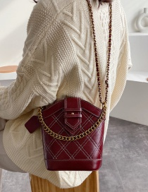 Fashion Red Wine Diamond Chain Cross-body Bag