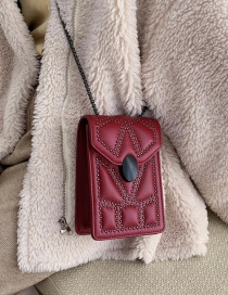 Fashion Red Chain Stud Crossbody Bag
