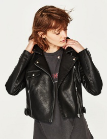 Fashion Black Zip Biker Jacket