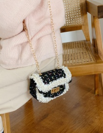 Fashion Black Lace-trimmed Pearl And Chain Shoulder Bag