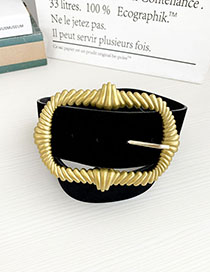 Fashion Black Pu Velvet Alloy Rectangular Belt