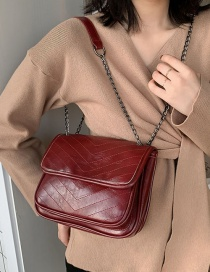 Fashion Red Wine Diamond Chain Cross-body Shoulder Bag