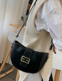 Fashion Black Metal Buckle Crossbody Bag