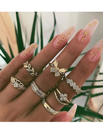 Fashion Golden Alloy Butterfly Ring Set