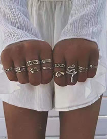 Fashion Silver Snake Flower Lite Ring Set