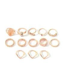 Fashion Golden Portrait Water Drop Diamond Ring Set