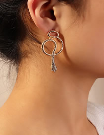 Fashion Rose Gold Cobra Earrings With Metal And Diamonds